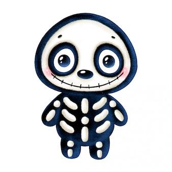Ilustração de um esqueleto sorridente de halloween bonito dos desenhos animados isolado
