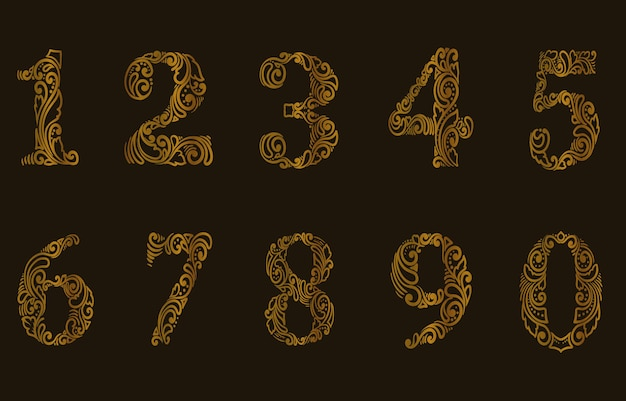 Ilustração de um estilo de padrão de conjunto de números