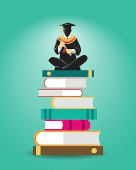 Ilustração de um estudioso sentado em uma pilha de livros grandes