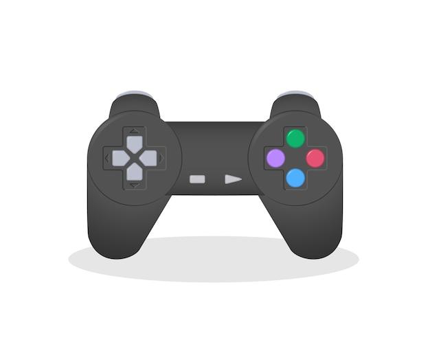 Ilustração de um famoso console de videogame. manipulador de videogame antigo popular.