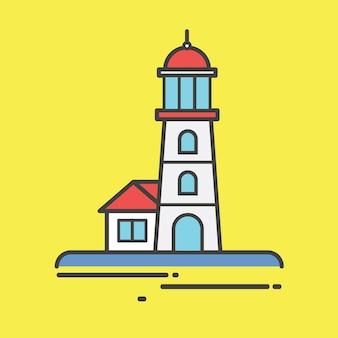 Ilustração, de, um, farol, torre