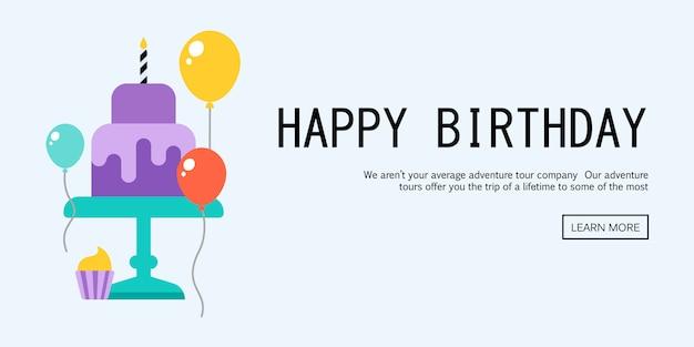 Ilustração de um feliz aniversario cartão comemorativo