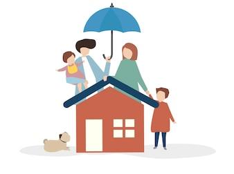 Ilustração, de, um, feliz, família