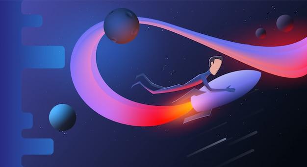 Ilustração de um foguete voando com montando uma pessoa bem sucedida nele no céu estrelado. fundo eps10.