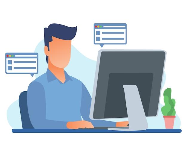 Ilustração de um funcionário trabalhando para processar dados no computador