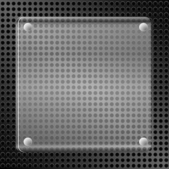 Ilustração de um fundo metálico com furos e uma placa de vidro.