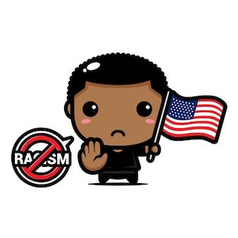 Ilustração de um garoto segurando uma bandeira americana e um símbolo de parar o racismo