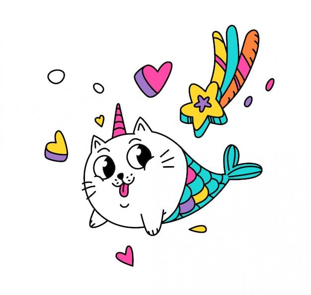 Ilustração de um gato mágico sob a forma de uma sereia.