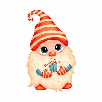 Ilustração de um gnomo de natal bonito dos desenhos animados