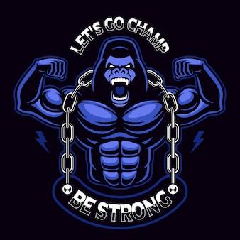 Ilustração de um gorila musculoso com corrente. mascote do esporte no fundo escuro. o texto está no grupo separado.