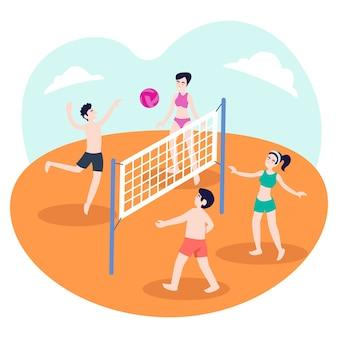 Ilustração de um grupo de adolescentes jogando vôlei na praia no verão