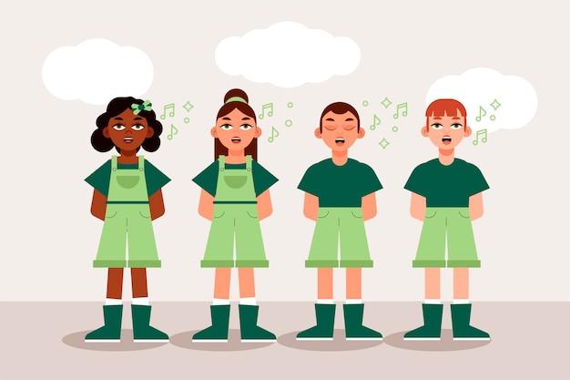 Ilustração de um grupo de crianças cantando em um coro