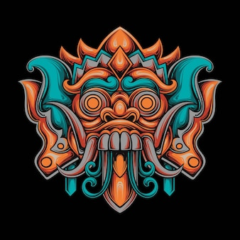 Ilustração de um guerreiro samurai e uma máscara kitsune no estilo mecha