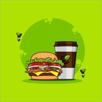 Ilustração de um hambúrguer e uma xícara de café
