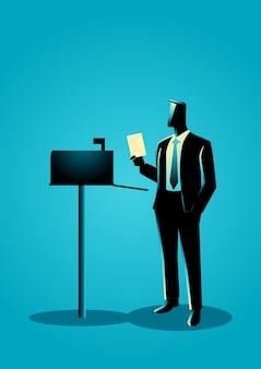 Ilustração de um homem abriu a caixa de correio, recebendo uma carta