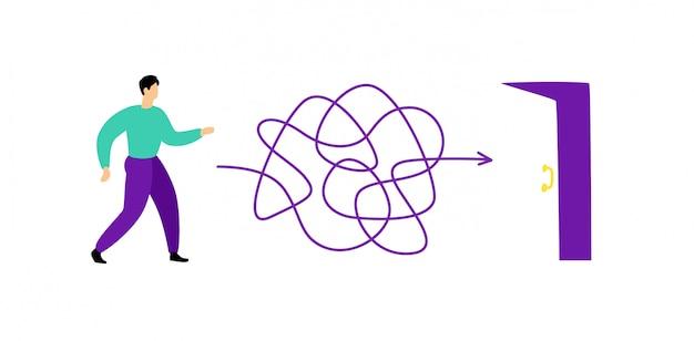 Ilustração de um homem andando através de um labirinto até a saída. vetor.