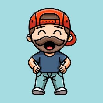 Ilustração de um homem barbudo fofo