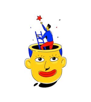 Ilustração, de, um, homem, cabeça