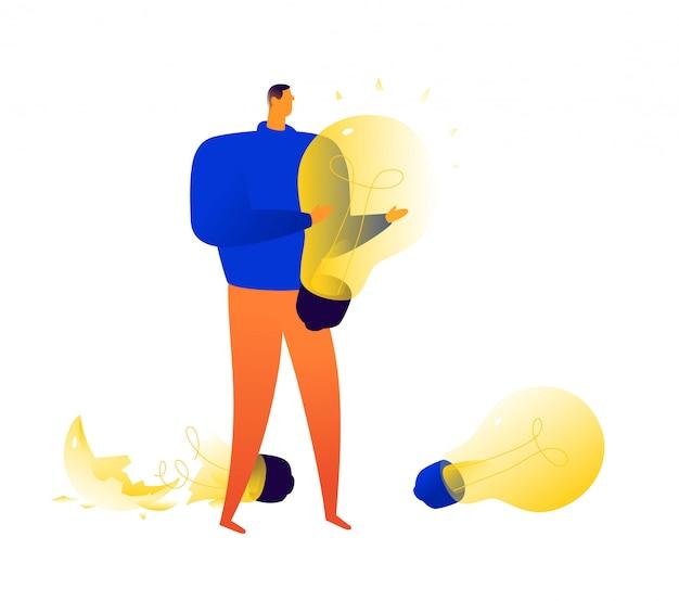 Ilustração, de, um, homem, com, lâmpadas