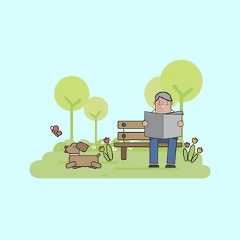 Ilustração, de, um, homem, com, seu, cão