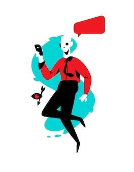 Ilustração de um homem com um telefone em uma camisa vermelha.