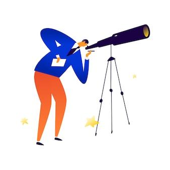 Ilustração, de, um, homem, com, um, telescópio