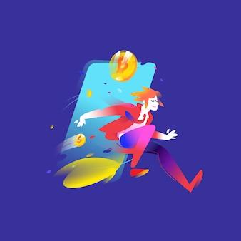 Ilustração de um homem correndo com moedas