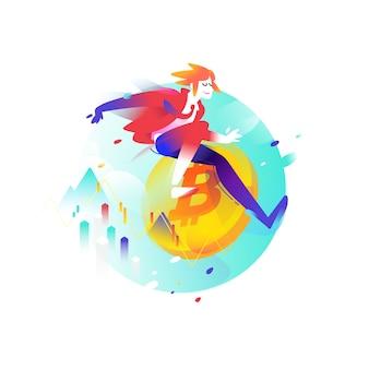 Ilustração de um homem correndo com uma moeda de bitcoin