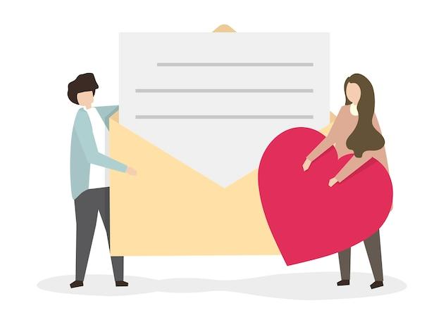 Ilustração de um homem dando uma carta de amor