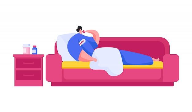Ilustração de um homem doente bebendo remédio e medindo a temperatura enquanto estava deitado no sofá macio e descansando durante a epidemia em casa