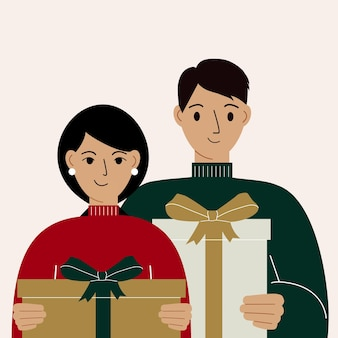 Ilustração de um homem e uma mulher com grandes caixas de presente nas mãos. conceito de dar, receber e comprar presente. ilustração em vetor plana