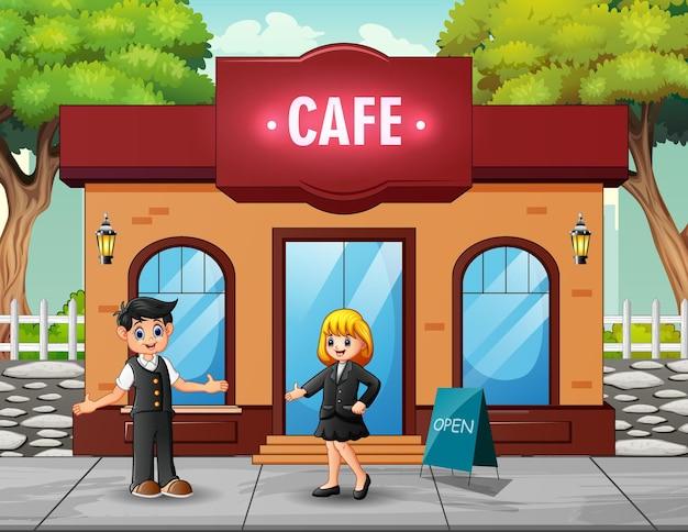 Ilustração de um homem e uma mulher em frente ao café