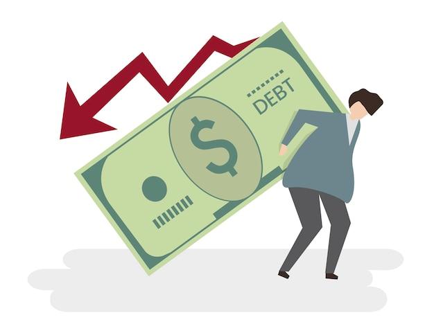 Ilustração, de, um, homem, em, dívida