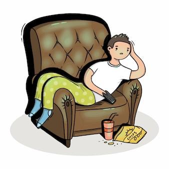 Ilustração de um homem em uma cadeira em frente à tv
