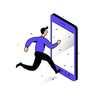 Ilustração, de, um, homem, executando, para, a, telefone