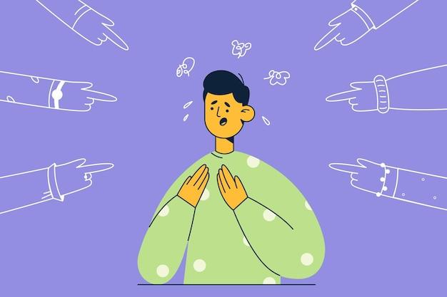 Ilustração de um homem infeliz, estressado e assustado, em pé com emoções humanas negativas, sentindo pressão e atitude negativa de pessoas apontando para ele