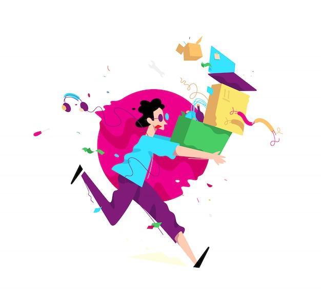 Ilustração, de, um, homem jovem, com, caixas