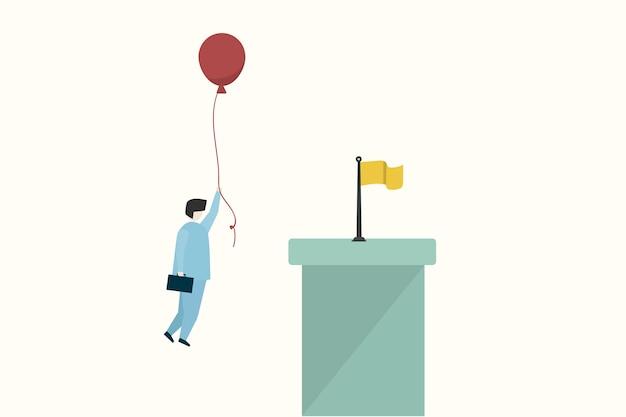 Ilustração, de, um, homem negócios, alcançar, um, objetivo
