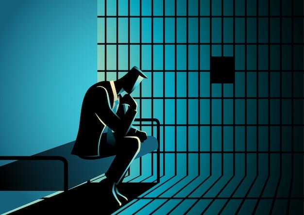 Ilustração, de, um, homem negócios, em, prisão