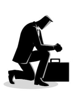 Ilustração, de, um, homem negócios, orando