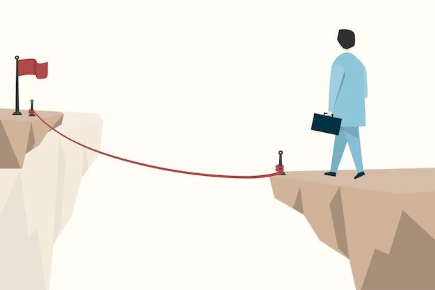 Ilustração, de, um, homem negócios, planejando, para, um, objetivo