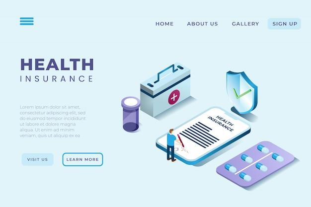 Ilustração de um homem que assina um contrato de seguro de saúde em estilo 3d isométrico