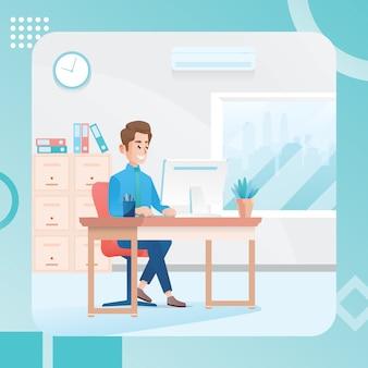 Ilustração de um homem que trabalha em uma sala de escritório
