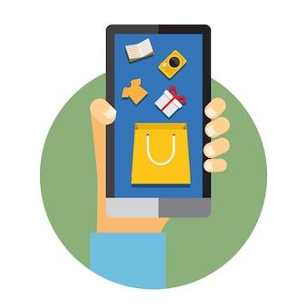 Ilustração de um homem segurando um telefone celular com internet ou elementos de compras online