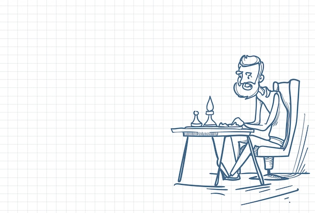 Ilustração de um jogador de xadrez solo