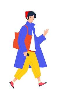 Ilustração de um jovem em uma capa azul e com uma bolsa marrom. hipster elegante em calças amarelas.