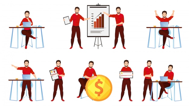 Ilustração, de, um, jovem, homem negócios, apresentando, seu, idéias