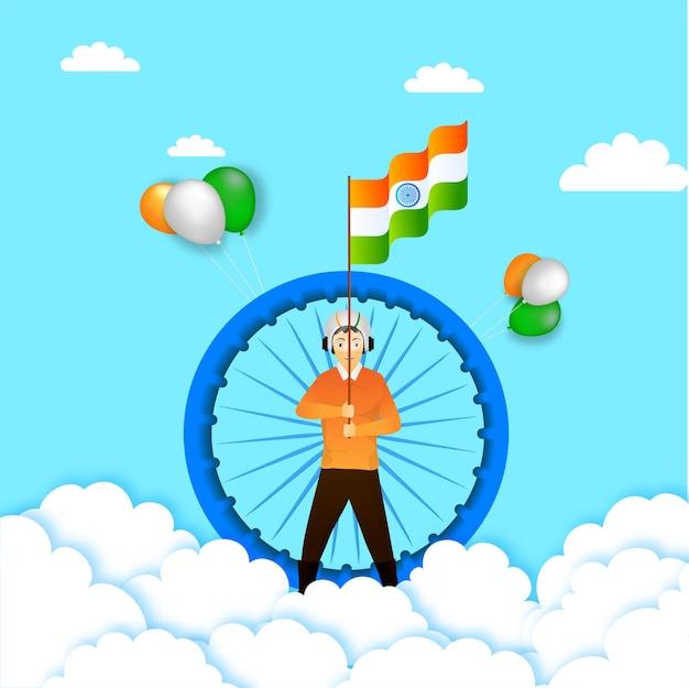 Ilustração de um jovem segurando uma bandeira indiana com a roda de ashoka