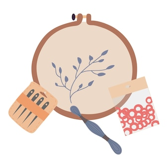 Ilustração de um kit de bordado