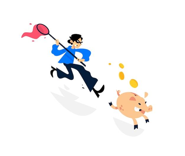 Ilustração de um ladrão correndo atrás de um cofrinho com uma rede